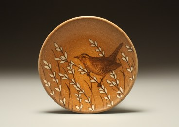 "Kyle Carpenter ""Carolina Wren Lunch Plate"", 2014, stoneware covered in flashing slip, hand painted with underglaze. Fired in a propane fueled salt kiln. Cone 10. Diameter 8"" x .75""."