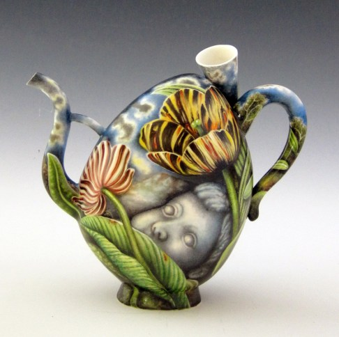 "Kurt Weiser, ""Overcast"" side 1, china painted porcelain, 9.5 x 4.5″."