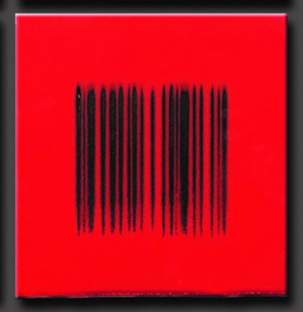 "Robert Silverman, ""Bar Code Red"", 2012, re-fired commercial porcelain tiles, 12 x 12″"