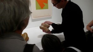 Mathew Marks Gallery Director of New York City, Jeffrey Peabody, showing the bottom of a 2000's Ken Price sculpture