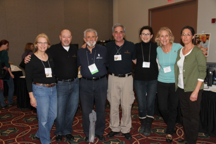 The K-12 Exhibition Crew - Leah Schlief-Freese, Glen Frick, Bob Feder, Nicole DuBrow, Nancy Ernst, Suzanne Conine (with photographer Glen Blakely in the middle)