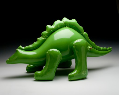 """Brett Kern - Inflatable Stegosaurus Ceramic 14"""" x 13"""" x 25"""" $950 2013 Ceramics Slip-Cast, Low Fire White Clay, Cone 06, Commercial Glazes and Gold Luster"""