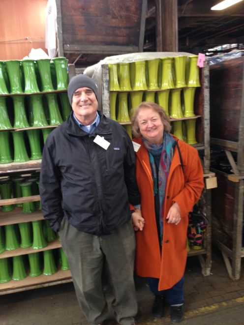 Jim Turnbull and I on a tour of the .Homer Laughlin (Fiestaware) plant.
