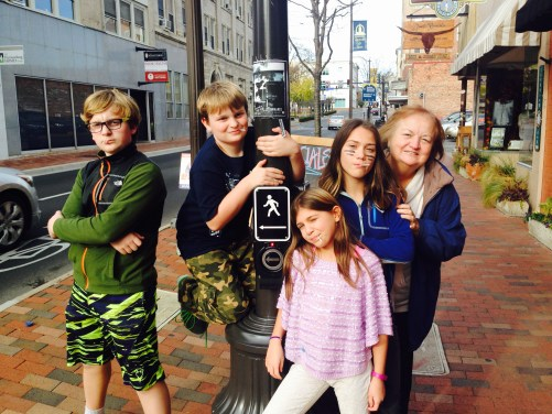 Grandchildren ( and Didi) trying to look cool in Harrisonburg Va