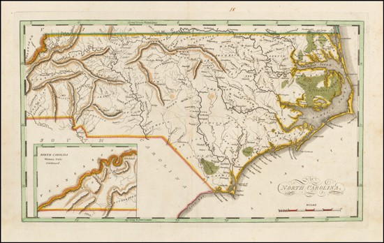 Unrecorded map of North Carolina, no county boundaries.