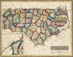 1814 Fielding Lucas map of North Carolina