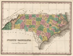 1824 map of North Carolina published by Anthony Finley
