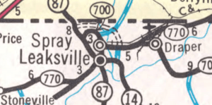 Leaksville, Spray, and Draper on 1967 North Carolina Official Highway Map