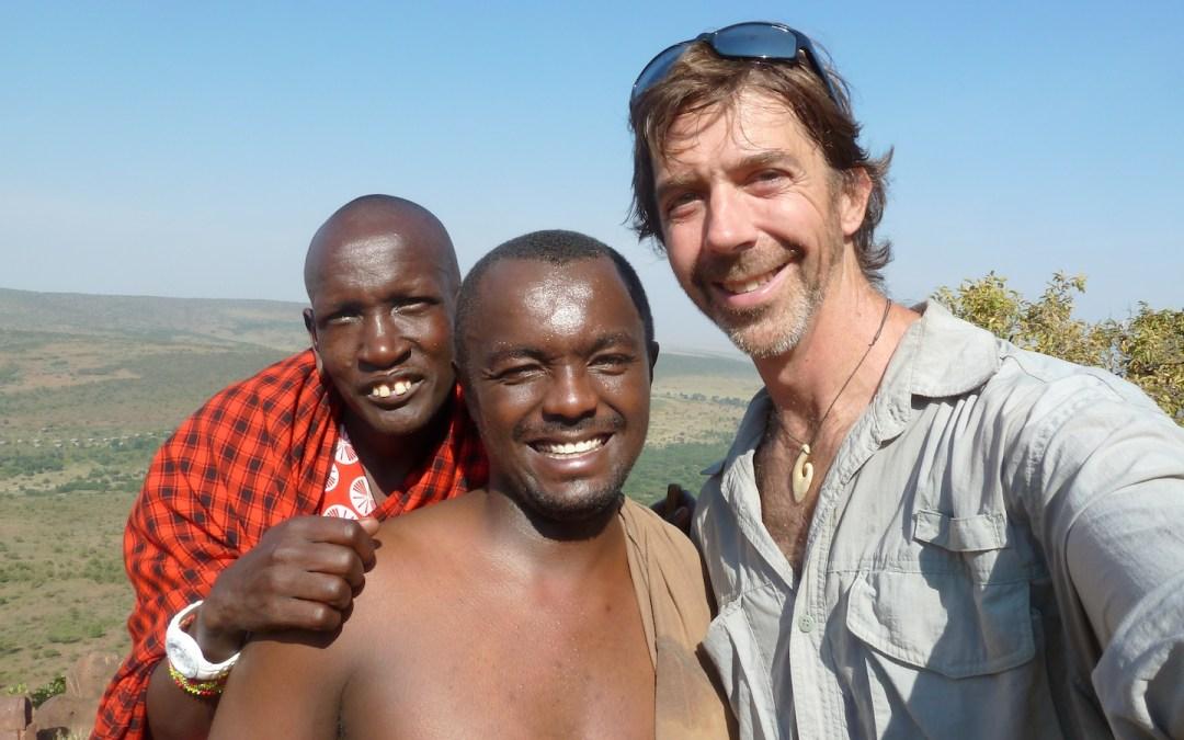 Nelson Guda with a Masai elder and friend Chris