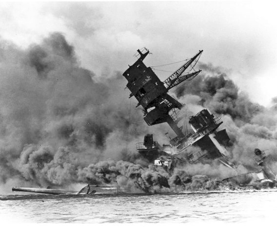 USS Airizona burning and sinking