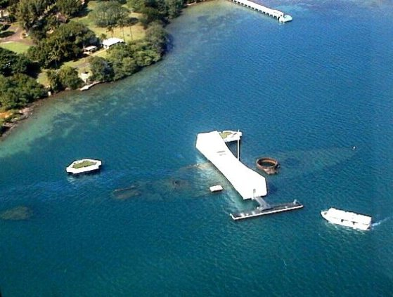 Below is an aerial view of the USS Arizona Memorial today. If you ever visit Hawaii and are on the island of Oahu I very strongly urge you to visit the USS Arizona Memorial at Pearl Harbor. It is a moving experience akin to visiting the Vietnam Wall in Washington DC.