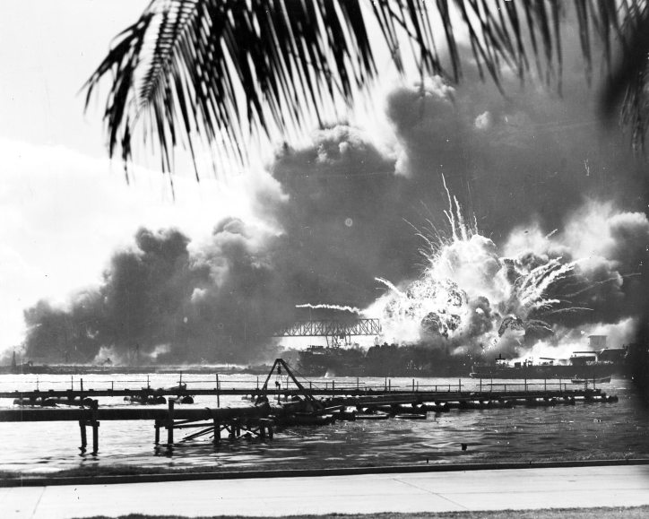 USS Shaw burning during the attack