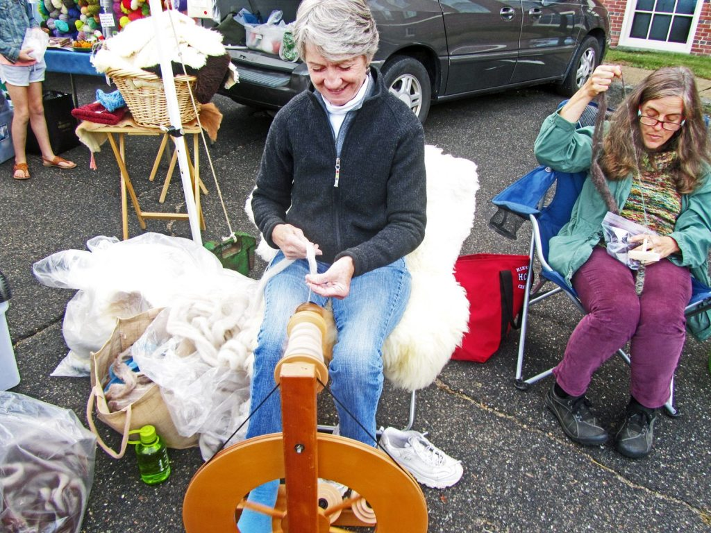 Spinning wood at the Portsmouth NH Farmer's Market