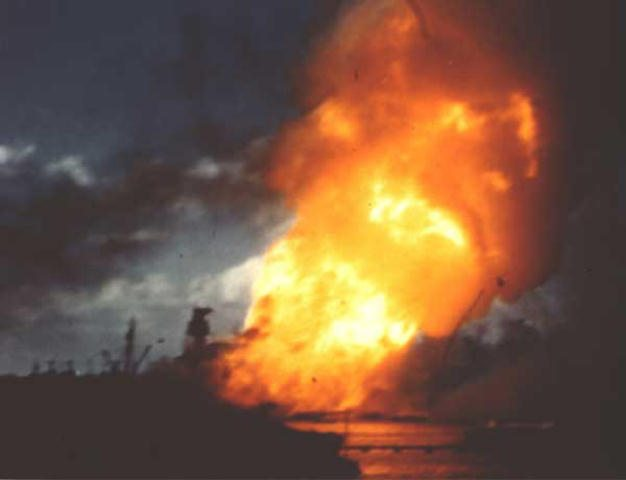 The USS Airzona exploding on December 7th
