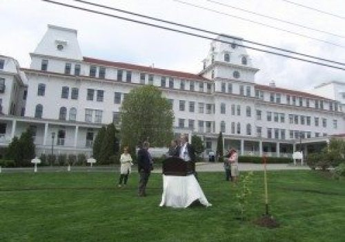 Ready to plant the ceremonial cherry tree at Wentworth By The Sea Hotel