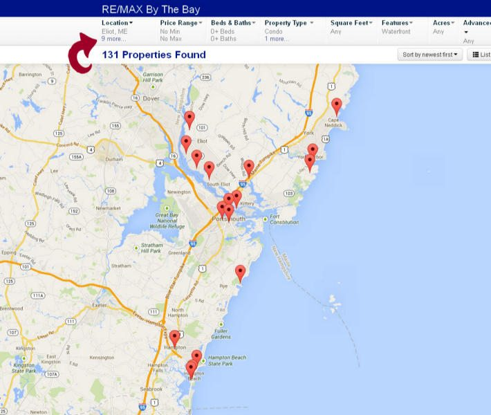 Portsmouth NH Real Estate map based home search