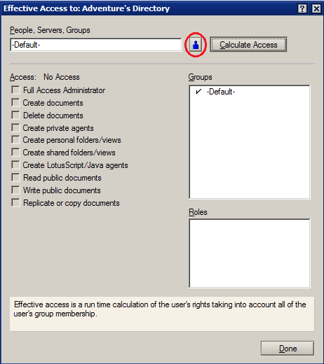 Lotus Notes user effective access
