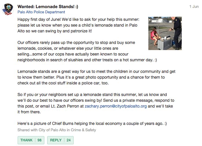 Palo Alto Police Department's original post on Nextdoor.