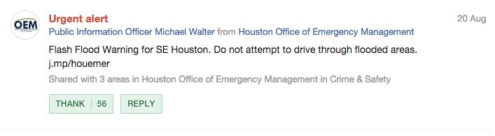 Houston OEM Urgent Alert