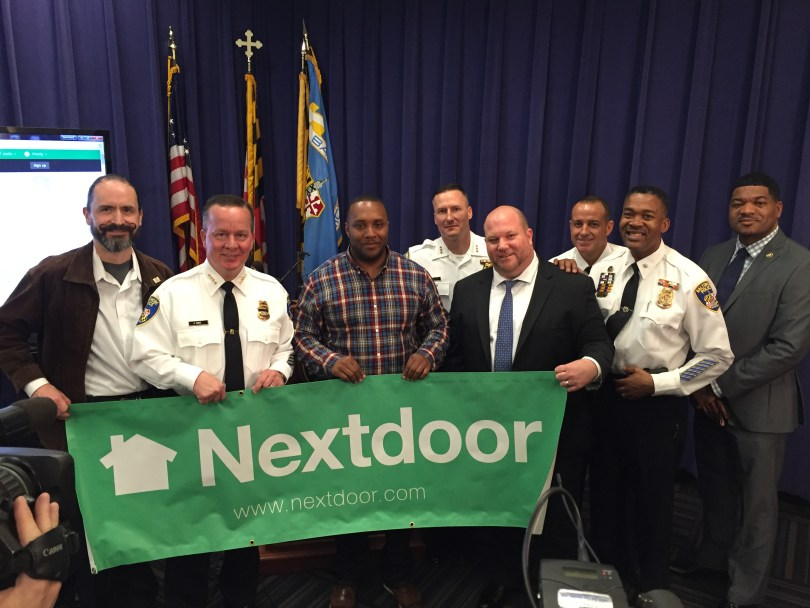 Baltimore resident Robert Yocham, Baltimore Police Commissioner Kevin Davis, Baltimore resident and Nextdoor Founding Member and Lead, Earl Johnson, and Nextdoor's Joseph Porcelli.
