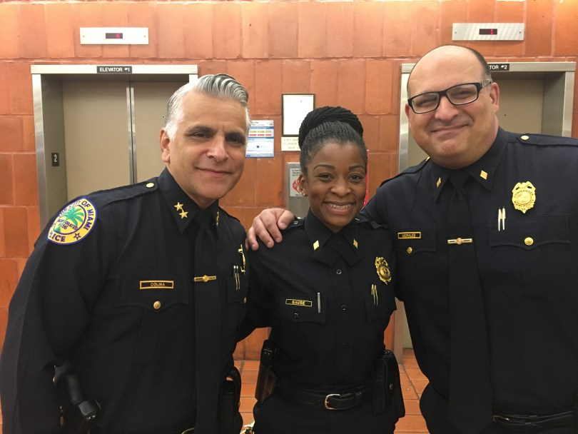 L-R: Commanders Colina, Gause, and Morales at the press conference. They will join Nextdoor today to begin communicating with the residents they serve.