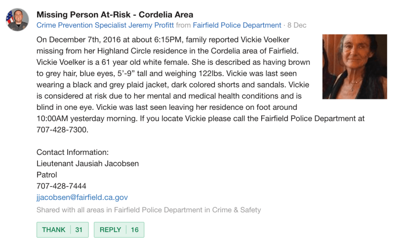 The Fairfield Police Department's post on Nextdoor about Vicki, which eventually led to her safe return home.