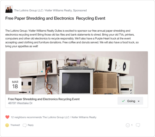 Nextdoor Real Estate Agent Local Expert Events Post