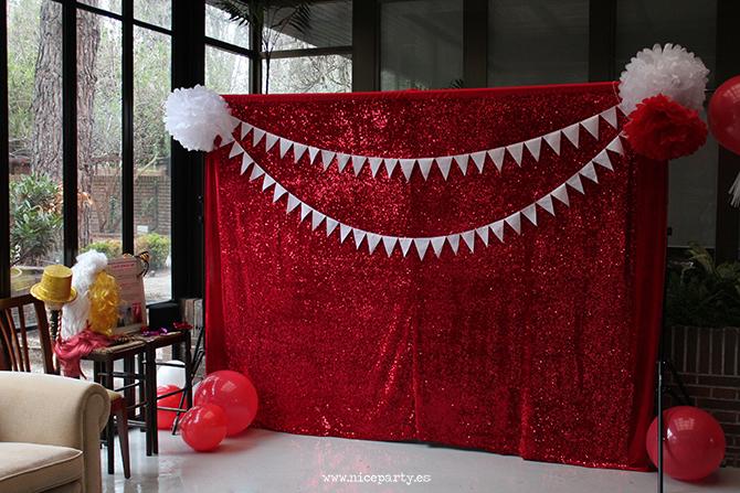 NiceParty NiceParty Cumpleaños del coche rojo decoración photocall circo