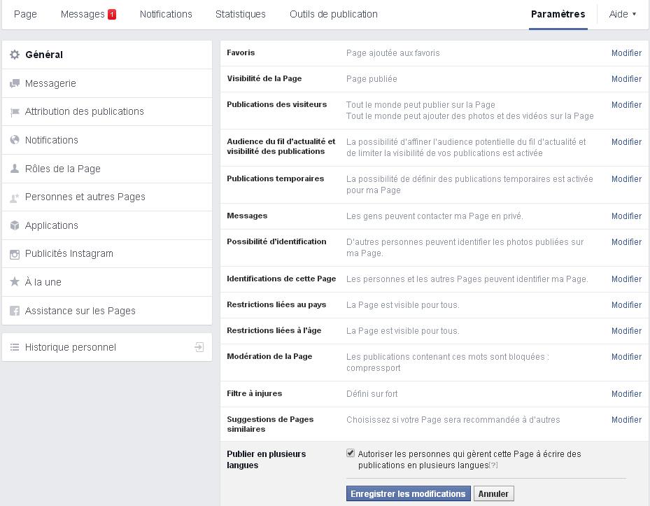 Paramètres page facebook publication en plusieurs langues