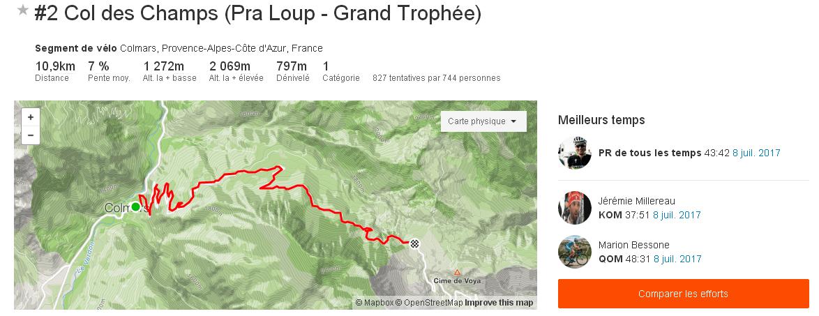 Segment Strava 2 Col des Champs Pra Loup Grand Trophée