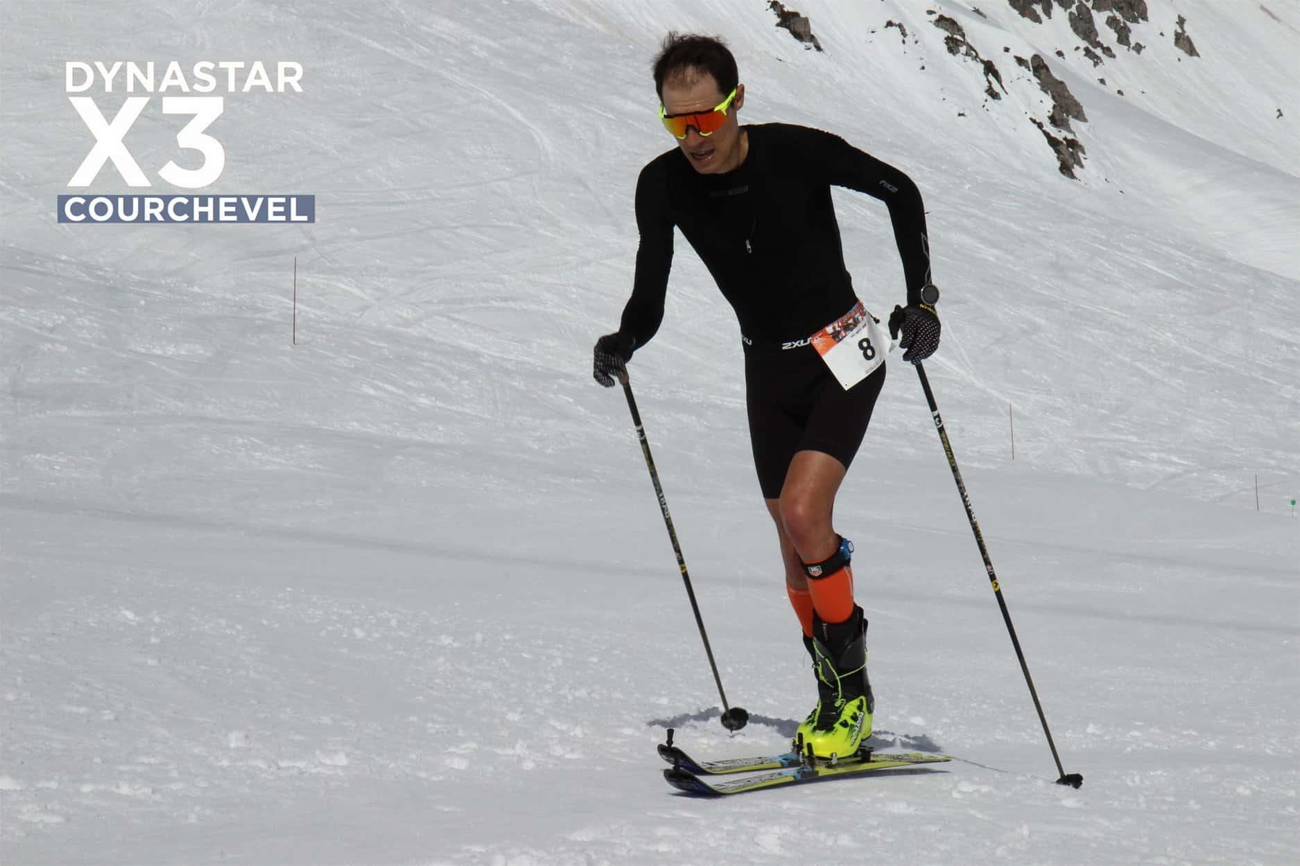 nicolas raybaud en ski trab dans la montée du triathlon dynastar X3 courchevel