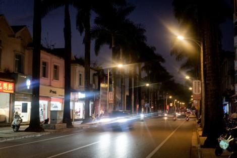 photo de nuit dans la rue de Mangshi