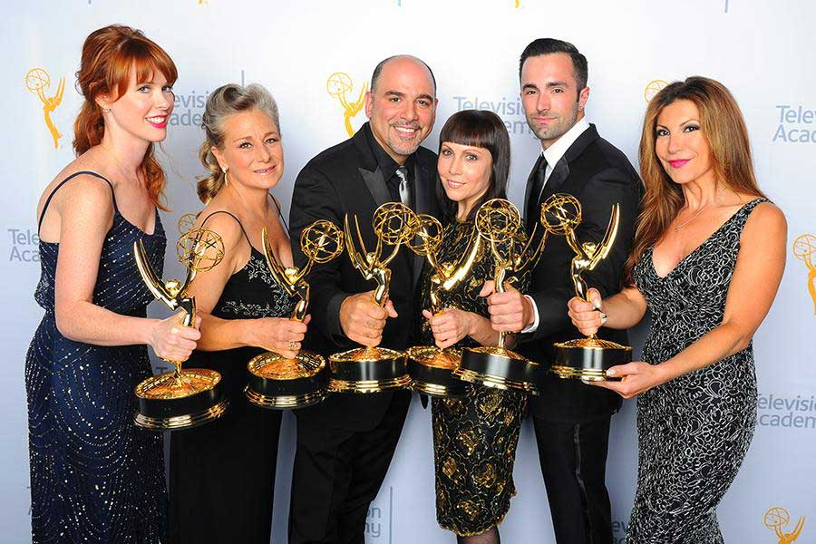 Sarah Egan, Melanie Demitri, Louie Zakarian, Amy Tagliamonti, Jason Milani and Daniela Zivkovic at the 2015 Creative Arts Emmy Awards Photo courtesy of Invision/AP
