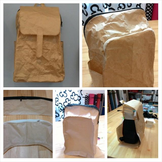 終於,把後背包的紙包做出來了,撒花........... 這是繼上次打版,隔了快10天才又有足夠的時間把它做出來,主要是側片的弧度很難抓,前後應該打了快10片,還好是牛皮紙,如果是布,也太貴了吧。有時覺得應該對了,這次絕對錯不了,於是把拉鍊疏縫上,得意的與袋身粘上後,天啊,怎麼前片又太高了,氣歸氣,還是得再接再厲,眼看著中午時間又到了,唉,還是得離開去陪妹妹吃飯,有時,的確適時的離開是好事,腦袋轉呀轉,冷靜一下,吃過午飯又是一條活龍,終於在下午四點妹妹來工作室接我前完成了。 這次的男士後背包比好堅強後背包大,可以把好堅強放進去喔,而且收納功能很多,除了前片的兩個拉鍊口袋,還有後背包原有的拉鍊,內袋也計劃會有很多口袋,只是口袋多,做的也會很.......有成就感,哈。
