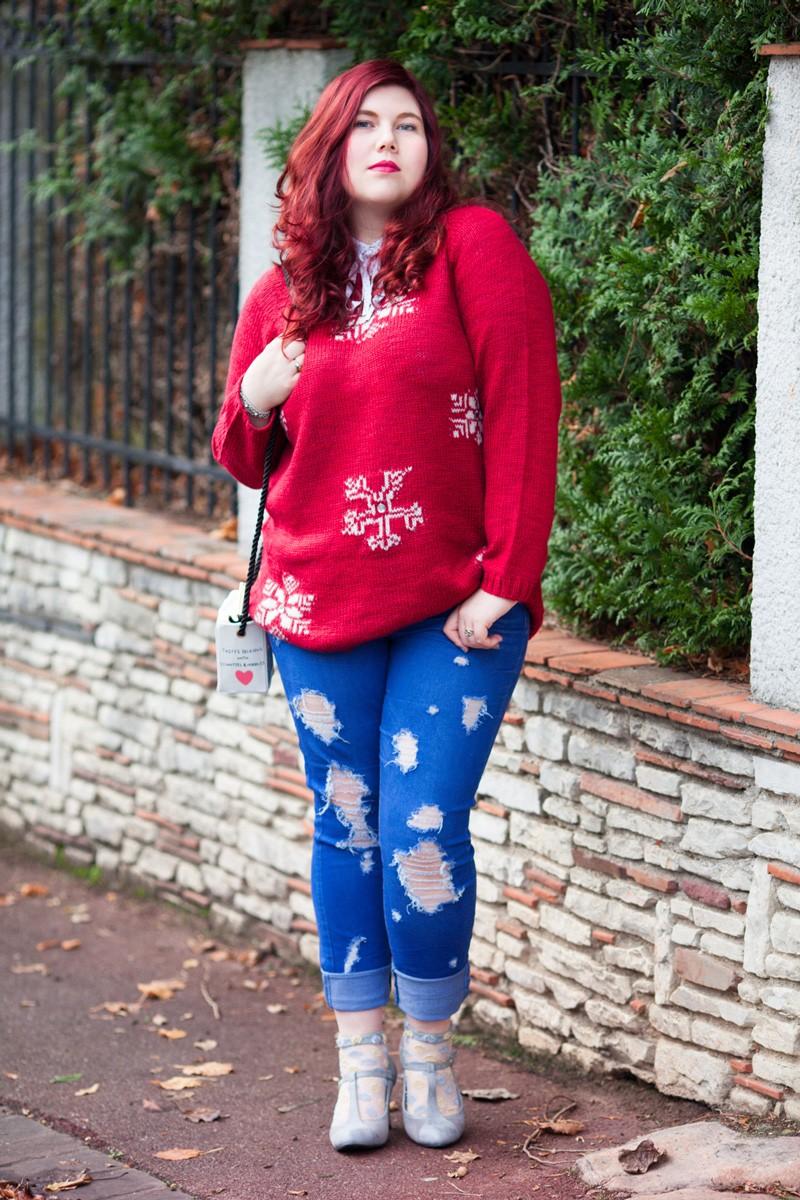 mode, look, scandinave, grande taille, ronde, plus size, curvy, ronde,noel, pull, ninaah bulles, sac, rosegale, flocon de neige, rouge, fêtes
