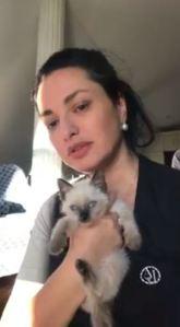 Nino Surguladze and cat