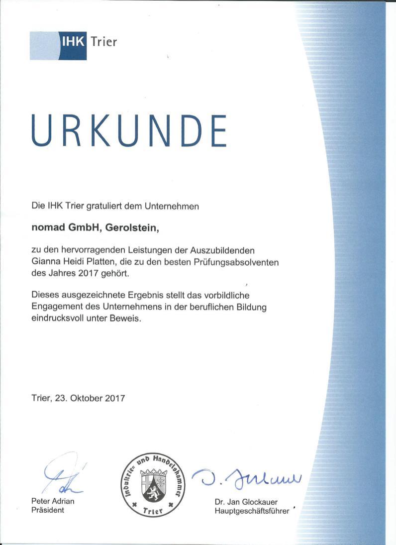 IHK-Urkunde