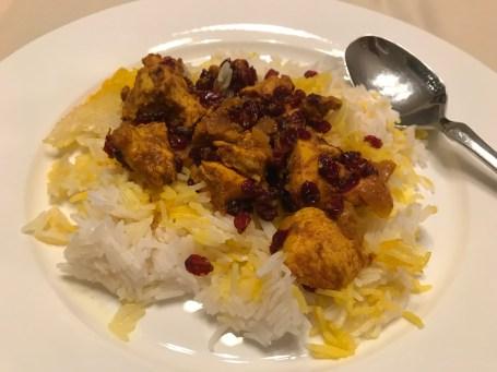 Orientalische Weihnachten Rezepte: Persisches Safranhähnchen mit Reis