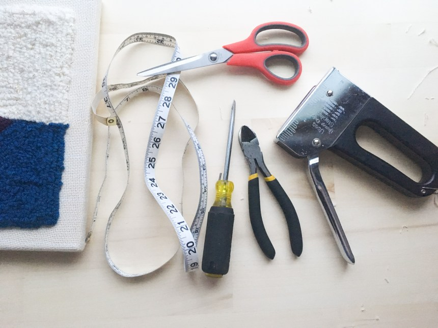 Tools needed to turn an artist canvas into a punch needle frame