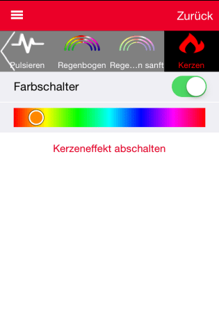 Effekt 5: Bei der Rainbow ohne Funktion: Kerzeneffekt.