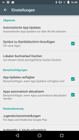 App Einstellungen