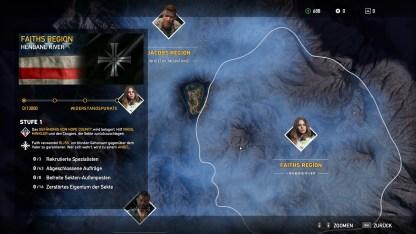 Die Karte teilt sich in drei große Gebiete