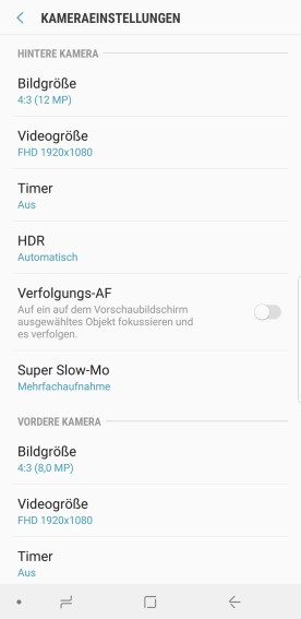 Einstellungen Kamera Samsung Galaxy S9 Plus