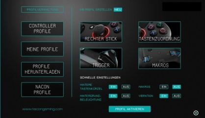 Startbildschirm der Software