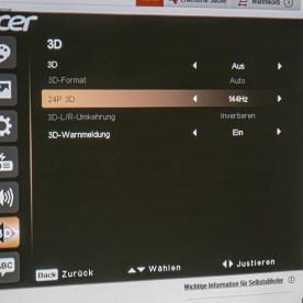 Acer X1623H 3D Menü