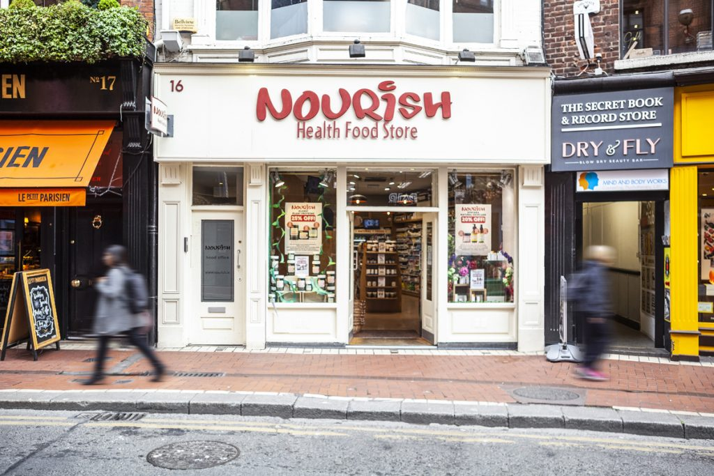 Nourish storefront on Wicklow Street with people passing by