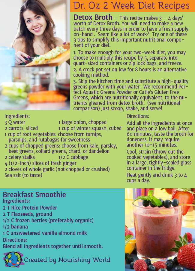 Dr. Oz 2 Week Diet Recipes