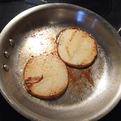 Jicama frying before being made into grain-free Keto Pizza.