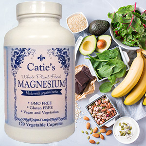 Picture of Catie's Whole Food Magnesium on a background of foods rich in naturally occurring magnesium.