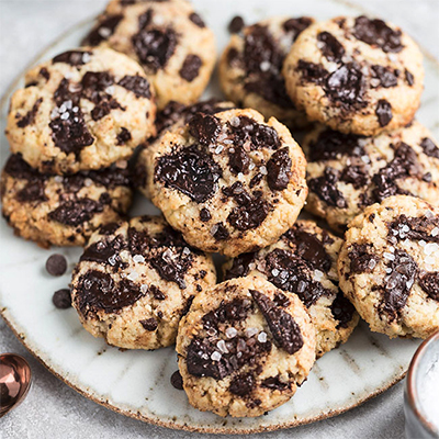 An image of low carb chocolate chip cookies —another delicious keto dessert recipe for the holidays